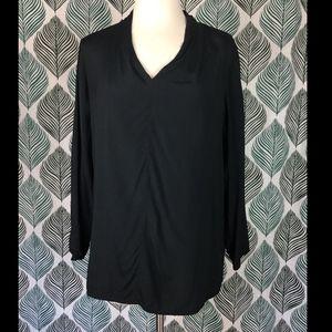 COS Black V Neck Long Sleeves Blouse Size 6